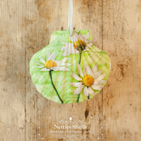Hanging Big Green Daisy Decoration on Giant Scallop Shell by Netties Shells