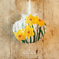 Hanging Realistic Daffodil Decoration on Giant Scallop Shell by Netties Shells