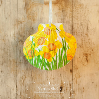 Hanging Bright Daffodil Decoration on Giant Scallop Shell by Netties Shells