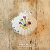 Hanging Scottish Thistle Decoration on Giant Scallop Shell by Netties Shells