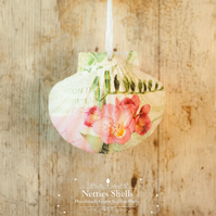 Hanging Freesia Right Decoration on Giant Scallop Shell by Netties Shells