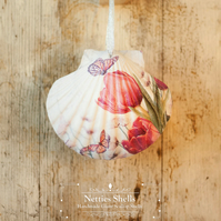 Hanging Pink Tulips Decoration on Giant Scallop Shell by Netties Shells