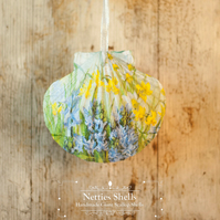 Hanging Bluebell Decoration on Giant Scallop Shell by Netties Shells