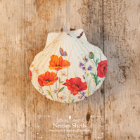 Hanging Poppy and Butterfly Decoration on Giant Scallop Shell by Netties Shells