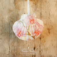 Hanging Thai Orchid Decoration on Giant Scallop Shell by Netties Shells