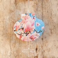 Hanging Blue Magnolia Decoration on Giant Scallop Shell by Netties Shells