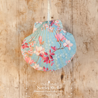 Hanging Small Blue Magnolia Decoration on Giant Scallop Shell by Netties Shells