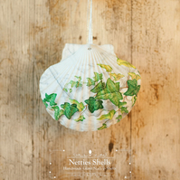 Hanging Ivy Decoration on Giant Scallop Shell by Netties Shells