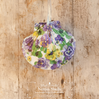 Hanging Purple Pansy Decoration on Giant Scallop Shell by Netties Shells