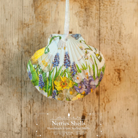 Hanging Spring Flowers Decoration on Giant Scallop Shell by Netties Shells