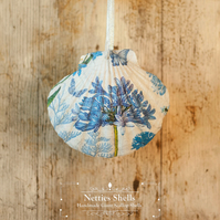 Hanging Agapanthus Decoration on Giant Scallop Shell by Netties Shells