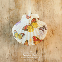 Hanging Butterfly Pattern Decoration on a Giant Scallop Shell by Netties Shells