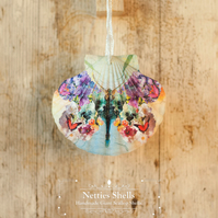 Hanging Flower Butterfly Decoration on a Giant Scallop Shell by Netties Shells