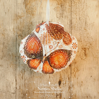 Hanging Orange Butterfly Decoration on a Giant Scallop Shell by Netties Shells