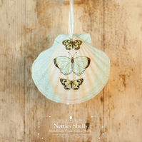 Hanging Blue Butterflies Decoration on a Giant Scallop Shell by Netties Shells