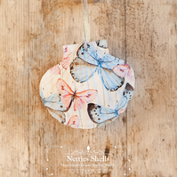 Pink and Blue Butterfly Decoration on a Giant Scallop Shell by Netties Shells