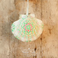 Hanging Mandala Decoration on a Giant Scallop Shell by Netties Shells