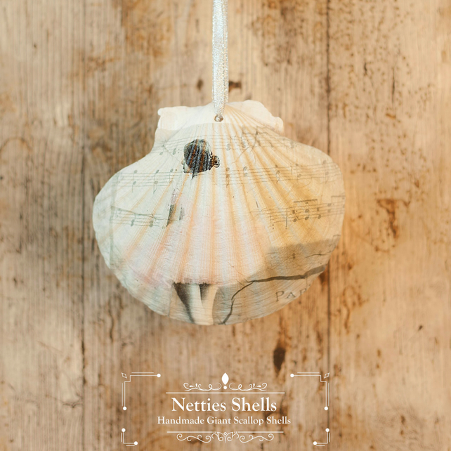 Hanging Ballerina Decoration on a Giant Scallop Shell by Netties Shells