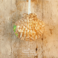 Hanging Wine Bottle Corks Decoration on a Giant Scallop Shell by Netties Shells