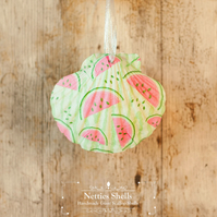 Hanging Watermelon Decoration on a Giant Scallop Shell by Netties Shells