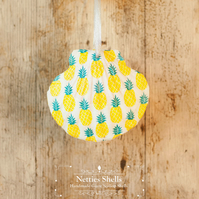 Hanging Pineapple Decoration on a Giant Scallop Shell by Netties Shells