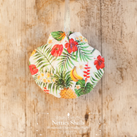 Hanging Tropical Decoration on a Giant Scallop Shell by Netties Shells