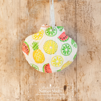 Hanging Lemon and Lime Decoration on a Giant Scallop Shell by Netties Shells