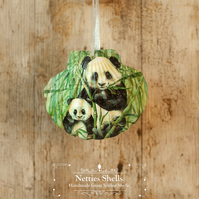 Hanging Panda and Baby Decoration on a Giant Scallop Shell by Netties Shells