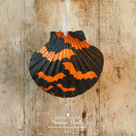 Hanging Bat Decoration on a Giant Scallop Shell by Netties Shells