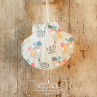 Hanging Baby Elephant Decoration on a Giant Scallop Shell by Netties Shells