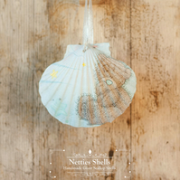 Hanging Blue Nose Friend Decoration on a Giant Scallop Shell by Netties Shells