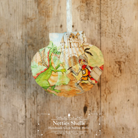 Hanging Knight and Dragon Decoration on a Giant Scallop Shell by Netties Shells