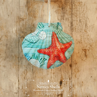 Hanging Starfish Decoration on a Giant Scallop Shell by Netties Shells