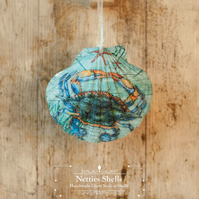 Hanging Blue Crab Decoration on a Giant Scallop Shell by Netties Shells