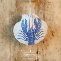 Hanging Lobster Decoration on a Giant Scallop Shell by Netties Shells
