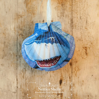 Hanging Shark Decoration on a Giant Scallop Shell by Netties Shells