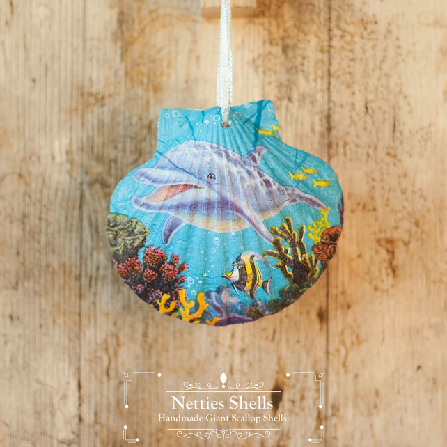 Hanging Dolphin Decoration on a Giant Scallop Shell by Netties Shells