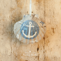Hanging Anchor Decoration on a Giant Scallop Shell by Netties Shells