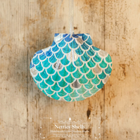 Hanging Mermaid Decoration on a Giant Scallop Shell by Netties Shells