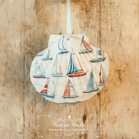 Hanging Sail Boat Decoration on a Giant Scallop Shell by Netties Shells