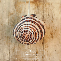 Hanging Shell Decoration on a Giant Scallop Shell by Netties Shells