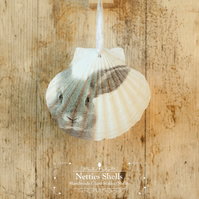 Hanging Rabbit Decoration on a Giant Scallop Shell by Netties Shells