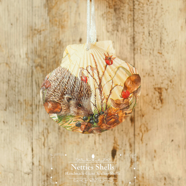 Hanging Hedgehog Decoration on a Giant Scallop Shell by Netties Shells