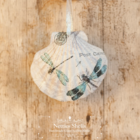 Hanging Dragonfly Decoration on a Giant Scallop Shell by Netties Shells