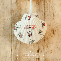 Hanging Ladybird Decoration on a Giant Scallop Shell by Netties Shells