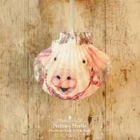 Hanging Pig Decoration on a Giant Scallop Shell by Netties Shells