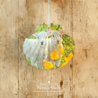 Hanging Spring Lambs Decoration on a Giant Scallop Shell by Netties Shells