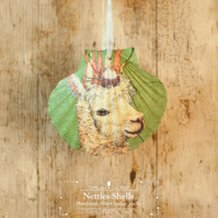Hanging Lama Alpaca Decoration on a Giant Scallop Shell by Netties Shells