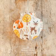 Hanging Fox Decoration on a Giant Scallop Shell by Netties Shells