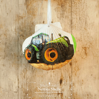 Hanging Tractor Decoration on a Giant Scallop Shell by Netties Shells